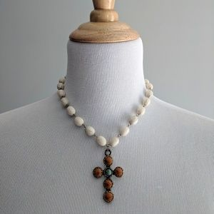 Jewelry - Rosary Style Faux Stone Cross Necklace orange
